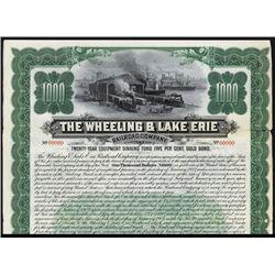 Wheeling & Lake Erie Railroad Company Specimen Bond.