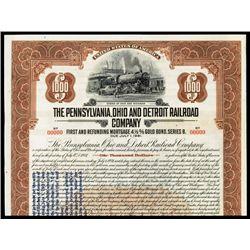 Pennsylvania, Ohio and Detroit Railroad Company Specimen Bond with Gold Clause.