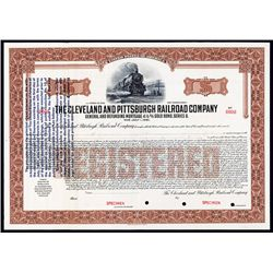 Cleveland and Pittsburgh Railroad Co. With Gold Clause Change Specimen Bond.