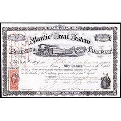 Atlantic & Great Western Railway Company Stock Certificate.