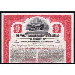 Pennsylvania, Ohio and Detroit Railroad Co. Specimen Bond.