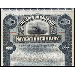 Oregon Railroad and Navigation Co. Specimen Bond.