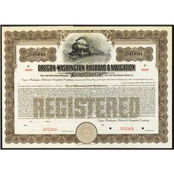 Oregon-Washington Railroad & Navigation Co. Specimen Bond.