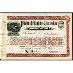 Andrew Mellon Autograph on Pittsburgh, VA & Charleston Railway Stock.