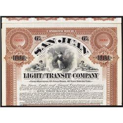 San Juan Light and Transit Co. Specimen Bond.