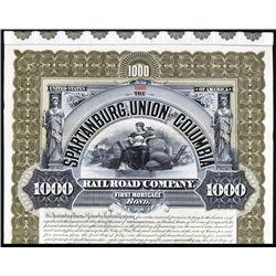Spartanburg, Union and Columbia Railroad Co. Specimen Bond.