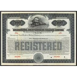 International-Great Northern Railroad Co. Specimen Bond.