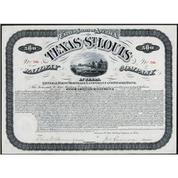 Texas and St.Louis Railway Company in Texas $500 Bond.