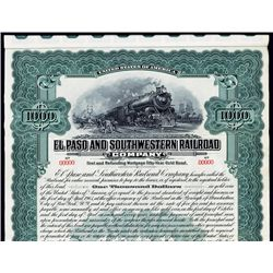 El Paso and Southwestern Railroad Co. Specimen Bond.