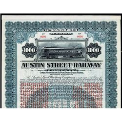 """Austin Street Railway Co. With Going Off """"Gold Standard """" Clause Specimen Bond."""