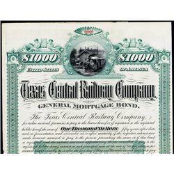 Texas Central Railway Co. Specimen Bond.