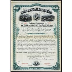 Texas Mexican Railway Co. Specimen Bond.