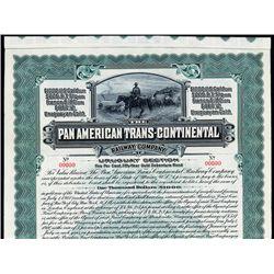 Pan American Trans-Continental Railway Co. Specimen Bond.