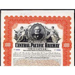 Central Pacific Railway Co. Specimen Bond.