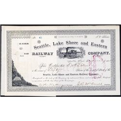 Seattle, Lake Shore and Eastern Railway Co. Stock Certificate.