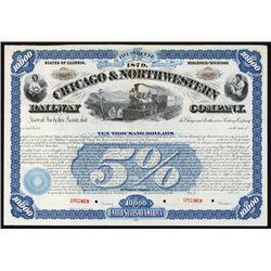 Chicago & Northwestern Railway Co. Specimen Bond.