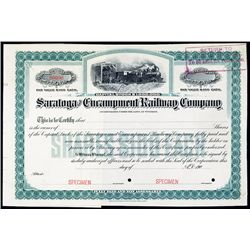 Saratoga & Encampment Railway Co. Specimen Stock.