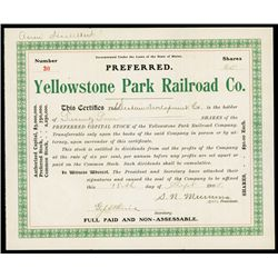 Yellowstone Park Railroad Co. Stock Certificate