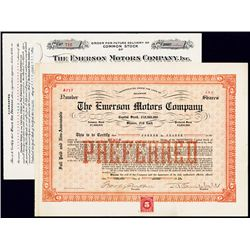 Emerson Motors Company Stock Certificate Pair.