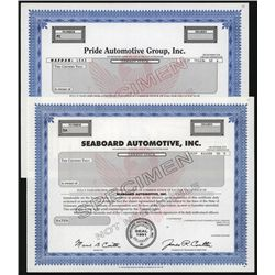 Seaboard Automotive and Pride Automotive Specimen Stock Group.