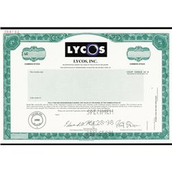 Lycos, Inc. Specimen stock.