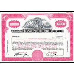 Twentieth Century-Fox Film Corp. Specimen Stock Certificate.
