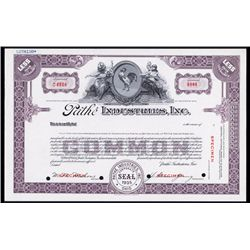 Pathe Industries, inc. Specimen Stock Certificate.