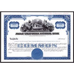 Anglo California National Bank, Proof Stock Certificate.