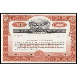 Wells Fargo Bank Specimen Stock Certificate.