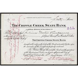 Cripple Creek State Bank Stock Certificate.