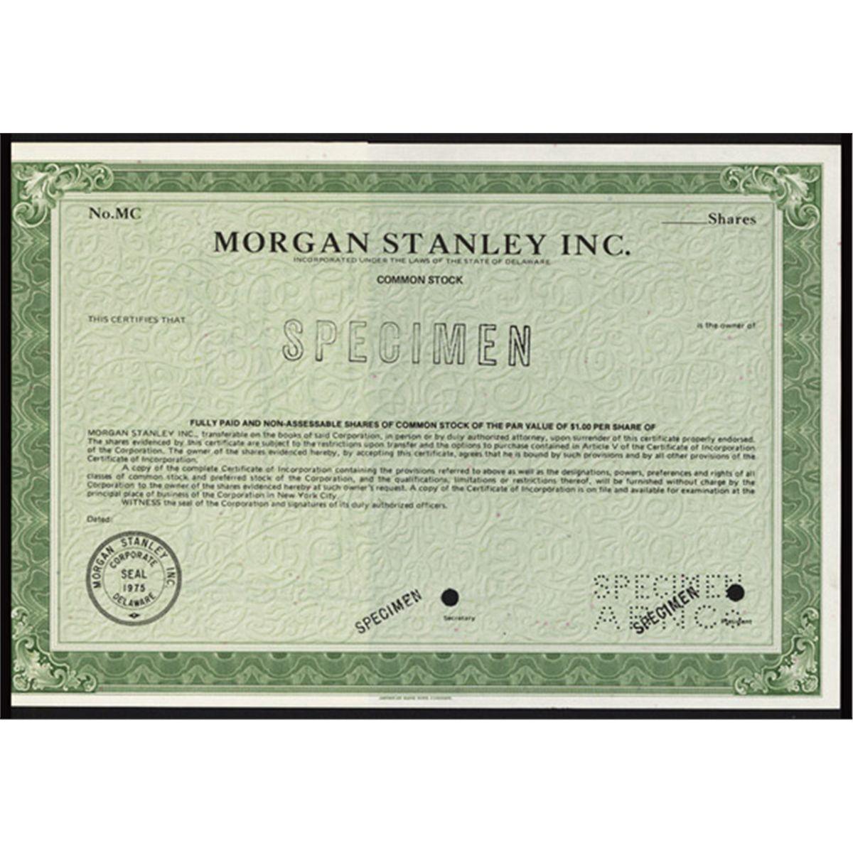 Morgan Stanley Inc  Specimen Stock Certificate