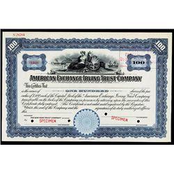 American Exchange Irving Trust Co. Specimen Stock.