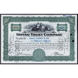 Irving Trust Company Stock Certificate Group of 99.