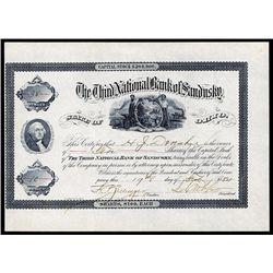 Third National Bank of Sandusky Stock certificate.