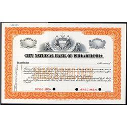 City National Bank of Philadelphia Specimen Stock.