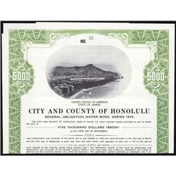 City and County of Honolulu Specimen Bond.