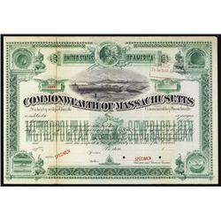 Commonwealth of Massachusetts Municipal Specimen Bond.