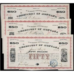 Territory of Montana Bonds, 1867 Issue, Signed by Tufts.