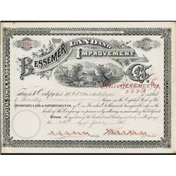 Bessemer Land and Improvement Co. Stock Certificate.