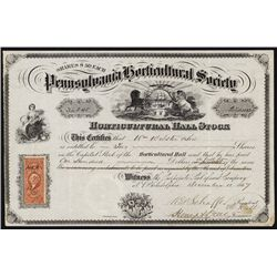 Pennsylvania Horticultural Society Stock Certificate.