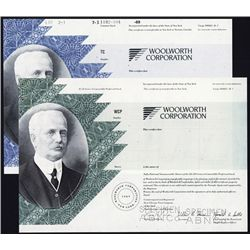 Woolworth Corporation Specimen Stock Certificate Pair.