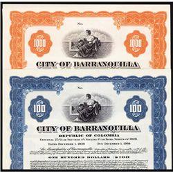 City of Barranquilla, 1939 Issue, Specimen Bond Pair.