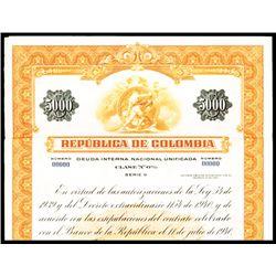 Republic of Columbia, Specimen Bond.