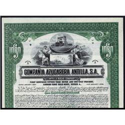 Compania Azucarera Antilla, S.A. Specimen Bond.