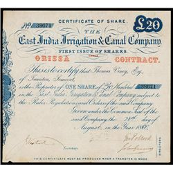 East India Irrigation & Canal Co. Stock Certificate.
