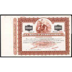 El Banco Territorial Specimen Bond.