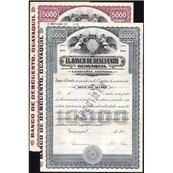 El Banco De Descuento Guayquil, Specimen Bond Pair.