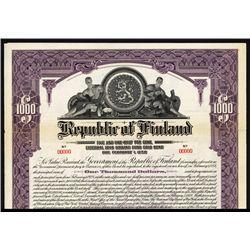 Republic of Finland Specimen Bond.