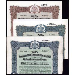 Hamburgische Staatsanleihe Von 1907 Bond Pair.