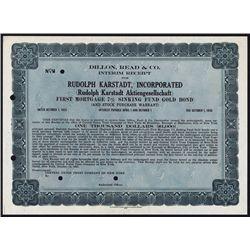 Rudolph Karstadt, Incorp. Specimen Bond Interim Receipt.